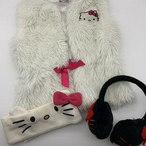 Hello Kitty Girl Winter Set White Black Sz: M/L